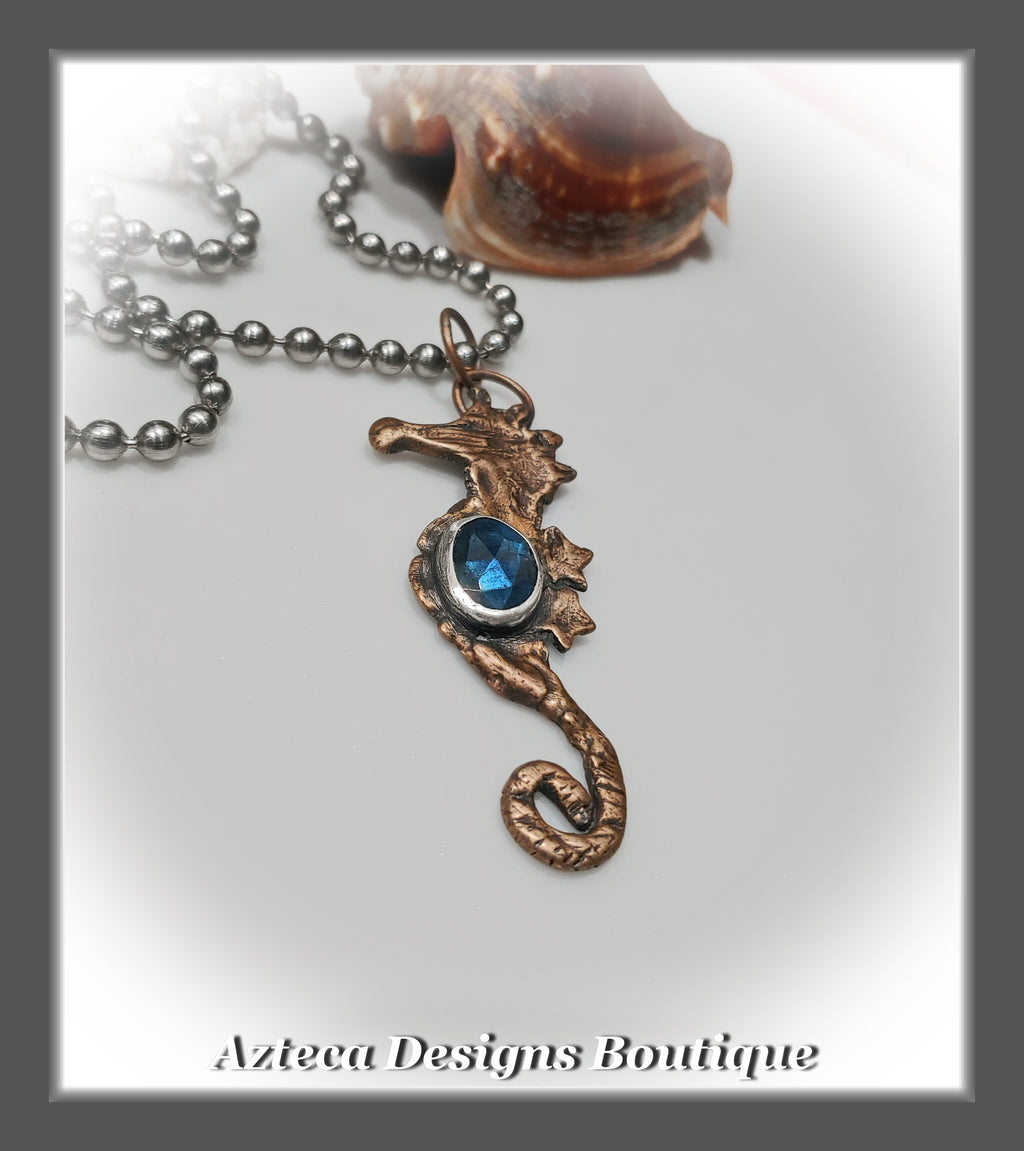 Sirens Call~Bronze Seahorse+Labradorite+Stainless Steel Chain+Hand Crafted Pendant Necklace
