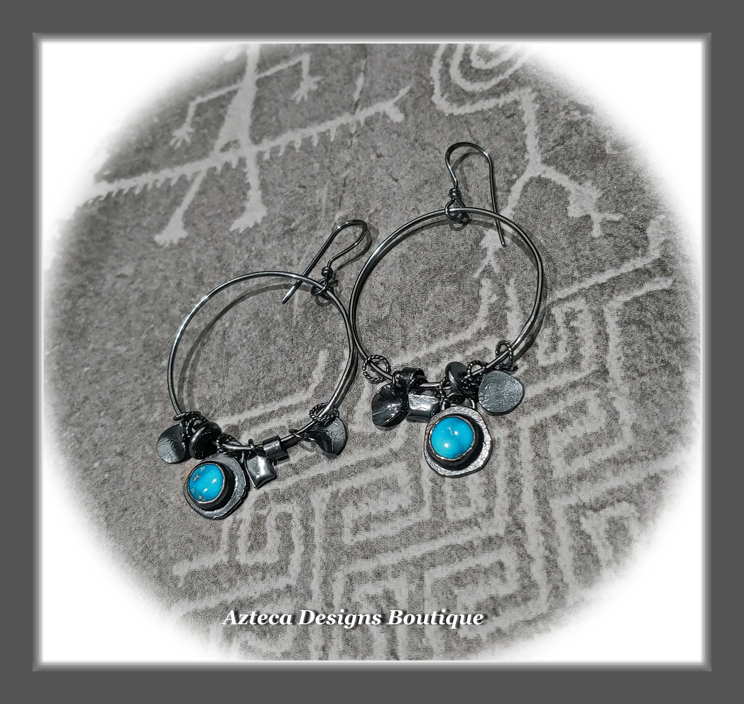 RESERVED FOR SANDY Blackened Silver+Sonoran Rose Turquoise+Hand Fabricated Charm Hoop Earrings