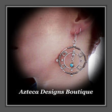 Load image into Gallery viewer, Silver Mandala+Sleeping Beauty Turquoise+Argentium Silver+Hand Fabricated Earrings