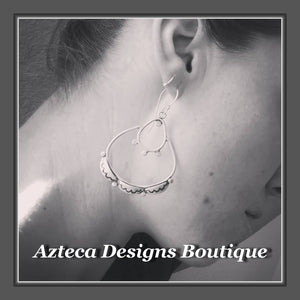 Scalloped Lace+Hand Fabricated Argentium Silver+Earrings