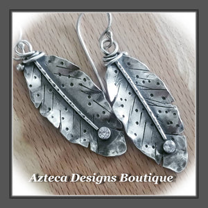 Her Wings+White Topaz+Hand Fabricated Rustic Argentium Silver Feather Earrings