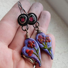 Load image into Gallery viewer, Her Garden+Garnet+Glass Lampwork+Handfabricated Earrings
