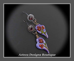 Her Garden+Garnet+Glass Lampwork+Handfabricated Earrings