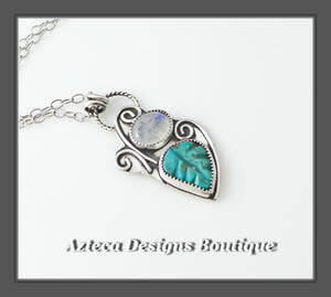 Carved Turquoise + Rainbow Moonstone + Sterling Silver Hand Fabricated Necklace