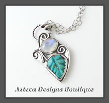 Load image into Gallery viewer, Carved Turquoise + Rainbow Moonstone + Sterling Silver Hand Fabricated Necklace