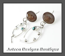 Load image into Gallery viewer, Natural Rosecut Sapphire + Kingman Turquoise + Argentium Silver Artisan Earrings