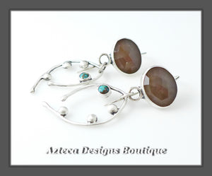 Natural Rosecut Sapphire + Kingman Turquoise + Argentium Silver Artisan Earrings