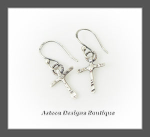 Rugged Cross+Hand Fabricated+Argentium Silver Earrings