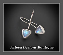 Load image into Gallery viewer, Rainbow Moonstone + Argentium Silver Hand Fabricated Triangle Drop Earrings
