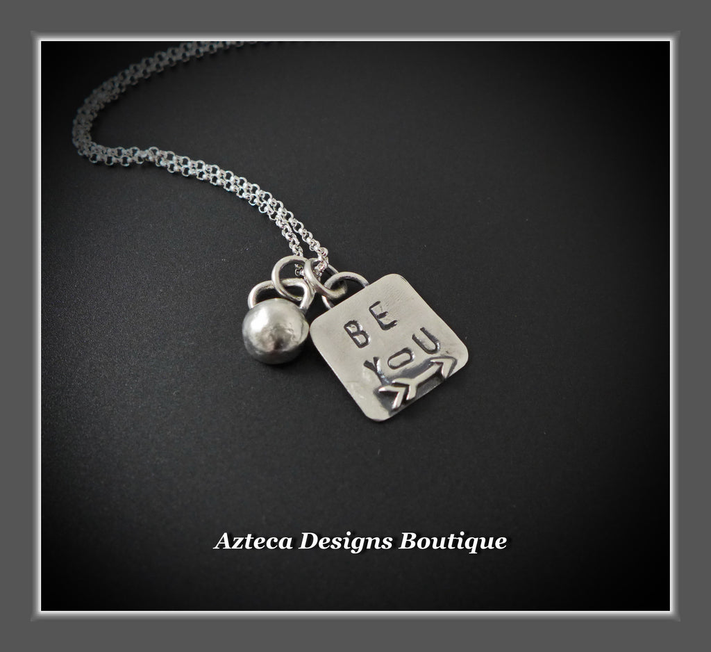 Be You Sterling Silver Kettlebell Hand Stamped Encouragement Charm Necklace