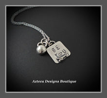 Load image into Gallery viewer, Be You Sterling Silver Kettlebell Hand Stamped Encouragement Charm Necklace