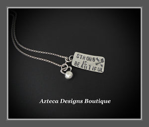 Strong Is Beautiful Sterling Silver Kettlebell Hand Stamped Encouragement Charm Necklace