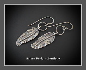Hand Fabricated Rustic Argentium Silver Feather Earrings