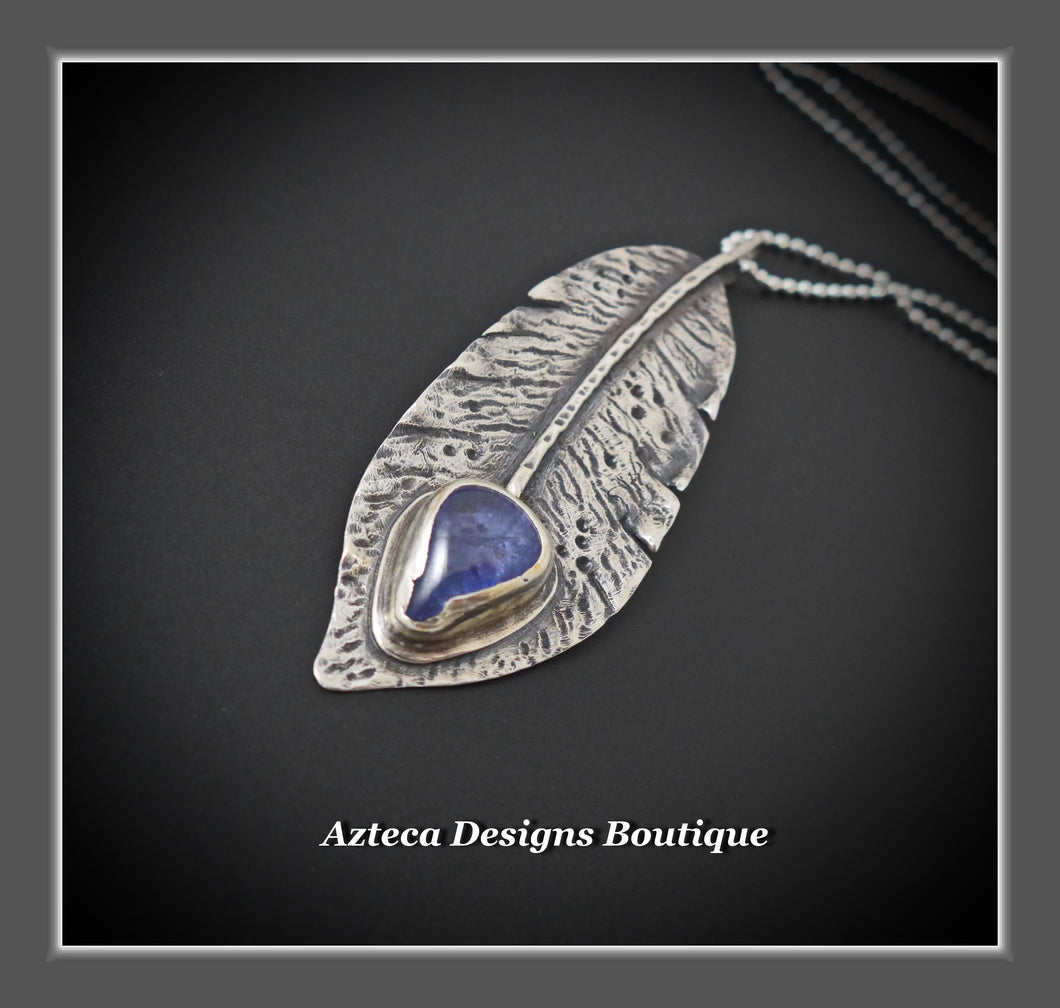 Tanzanite + Argentium Silver Hand Fabricated Feather Pendant Necklace
