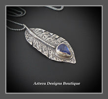 Load image into Gallery viewer, Tanzanite + Argentium Silver Hand Fabricated Feather Pendant Necklace