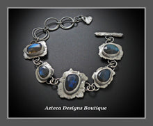 Load image into Gallery viewer, Labradorite Gemstone Hand Fabricated Rustic Sterling Silver Artisan Bracelet