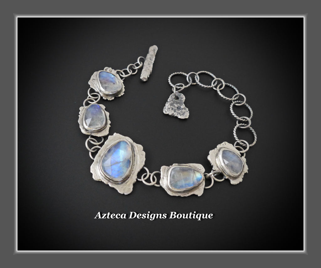 Rainbow Moonstone Gemstone Hand Fabricated Rustic Sterling Silver Artisan Bracelet