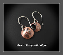 Load image into Gallery viewer, Moon + Wolf Copper Argentium Silver Artisan Earrings