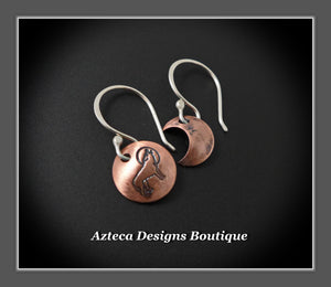 Moon + Wolf Copper Argentium Silver Artisan Earrings