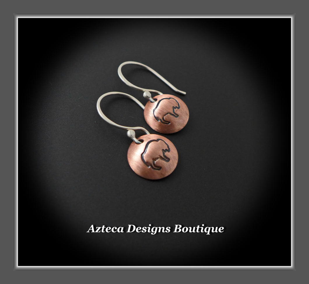 Buffalo + Bison Hand Fabricated Hand Stamped Copper Silver Charm Earrings