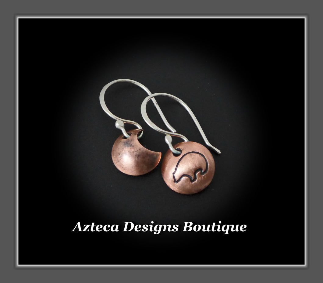 Zuni Bear MOON Asymmetrical Hand Stamped Copper Artisan Earrings