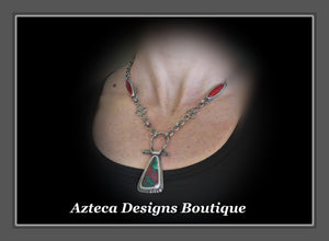 Sonoran Sunrise + Rosarita + Malachite + Hand Fabricated Artisan Necklace