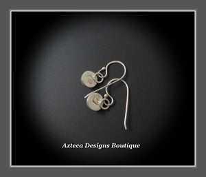 Round Smooth Rainbow Moonstone  + Argentium Silver Hand Fabricated Earrings