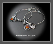 Load image into Gallery viewer, Blackened Silver Hand Fabricated Baltic Amber Charm Hoop Earrings