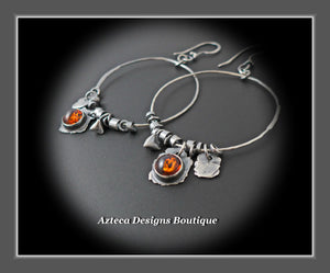 Blackened Silver Hand Fabricated Baltic Amber Charm Hoop Earrings