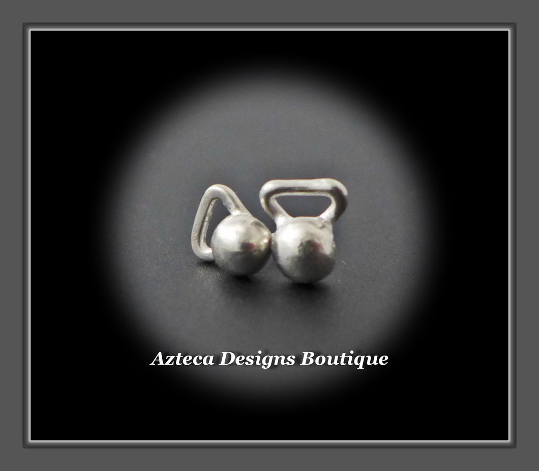 Sterling Silver Kettlebell Stud Post Hand Fabricated Earrings PAIR #5