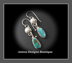 Desert Elegance~ Arizona Turquoise Pearls Argentium Silver Hand Fabricated Artisan Earrings