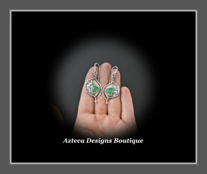 Dream On~ Chrysoprase Argentium Silver Hand Fabricated Organic Artisan Earrings