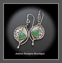 Load image into Gallery viewer, Dream On~ Chrysoprase Argentium Silver Hand Fabricated Organic Artisan Earrings