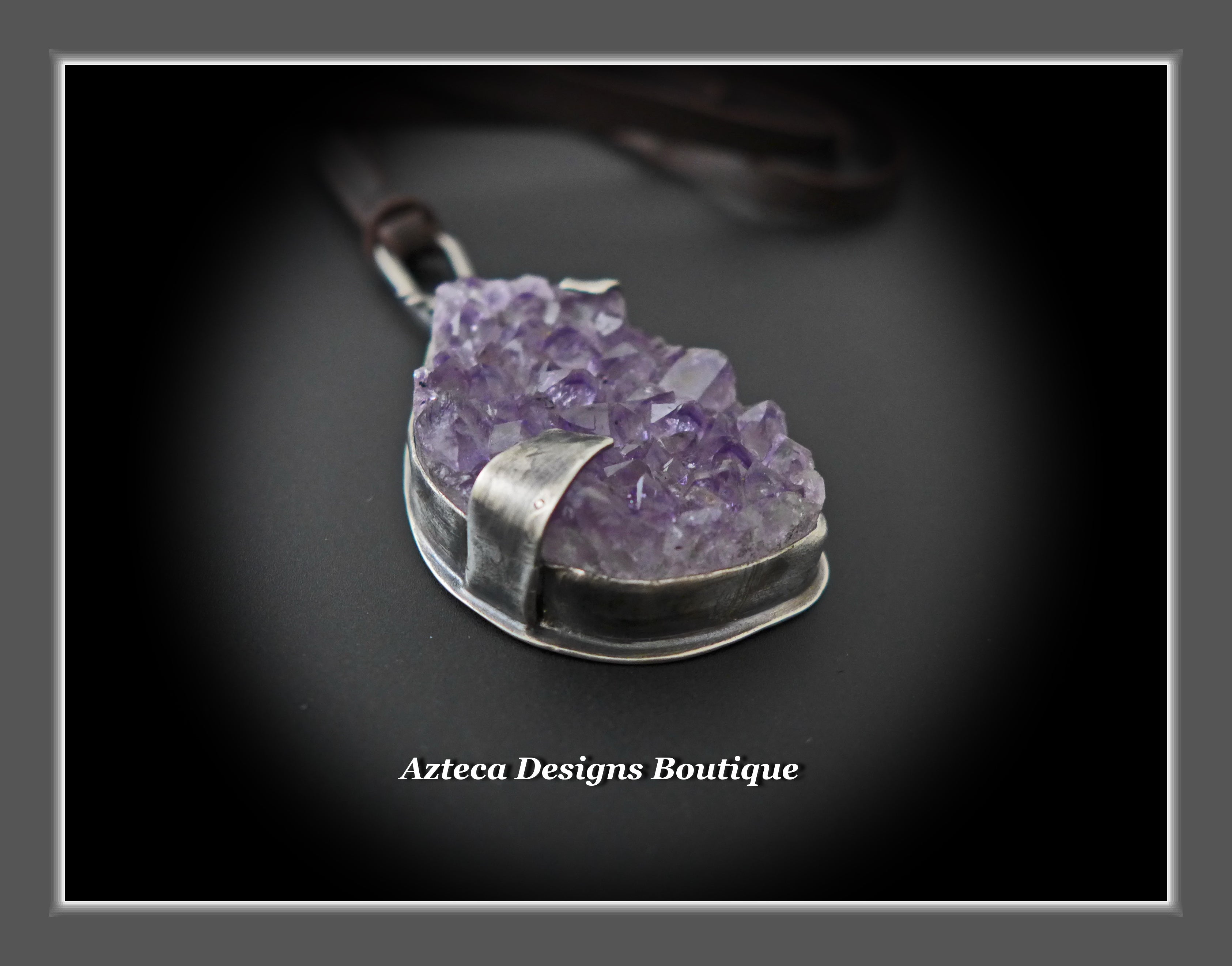 Bee Sparkling~Amethyst Druzy Crystal Sterling Silver Hand Fabricated Bee Pendant Necklace