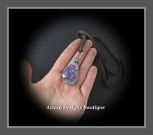 Load image into Gallery viewer, Bee Sparkling~Amethyst Druzy Crystal Sterling Silver Hand Fabricated Bee Pendant Necklace