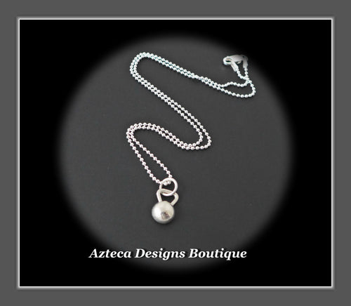 Hand Fabricated Sterling Silver Kettlebell Charm Necklace On 16 Inch Chain