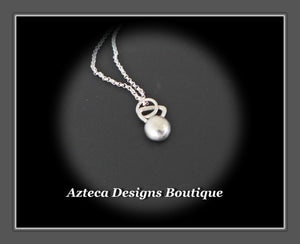 Hand Fabricated Sterling Silver Kettlebell Charm Necklace On 20 Inch Chain
