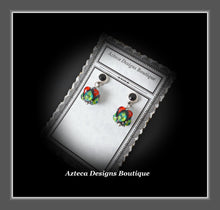 Load image into Gallery viewer, Lampwork + Black Onyx + Sterling Silver + Hand Fabricated  Post Earrings