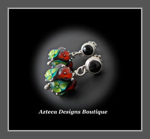 Lampwork + Black Onyx + Sterling Silver + Hand Fabricated  Post Earrings