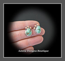 Load image into Gallery viewer, Damale Variscite Hand Fabricated Sterling Silver + Copper Post Earrings Embracing Individuality