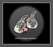 Load image into Gallery viewer, Starfox Variscite Hand Fabricated Argentium Silver + Copper Dangle Earrings Embracing Individuality