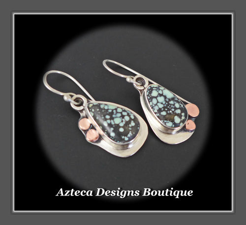 Starfox Variscite Hand Fabricated Argentium Silver + Copper Dangle Earrings Embracing Individuality