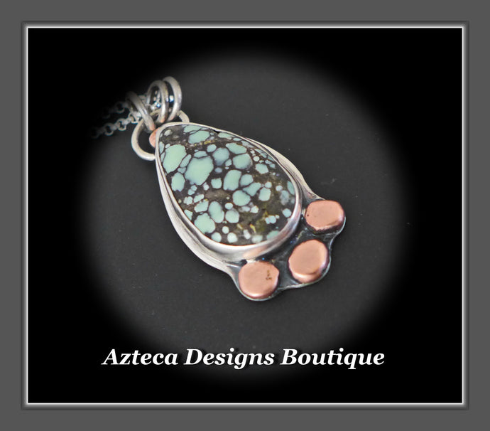 Starfox Variscite Hand Fabricated Argentium Silver + Copper Pendant Necklace Embracing Individuality