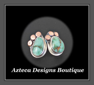 Damale Variscite Hand Fabricated Sterling Silver + Copper Post Earrings Embracing Individuality