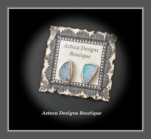 Australian Opal Doublet Hand Fabricated Sterling Silver Post Earrings