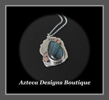 Load image into Gallery viewer, Hand Fabricated Labradorite + Sterling Silver + Copper Pendant Necklace