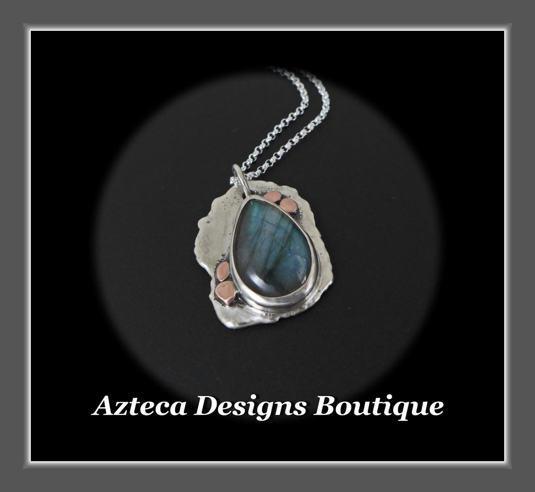 Hand Fabricated Labradorite + Sterling Silver + Copper Pendant Necklace