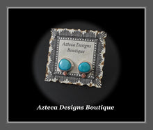 Load image into Gallery viewer, Sierra Nevada Turquoise Hand Fabricated Sterling Silver + Copper Post Earrings Embracing Individuality