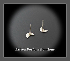 Sterling Silver Crescent Moon Hand Fabricated Stud Post Earrings