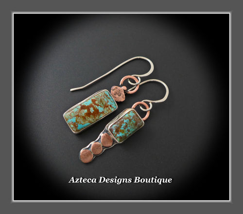 Royston Turquoise + Sterling Silver + Copper Hand Fabricated Earrings Embracing Individuality